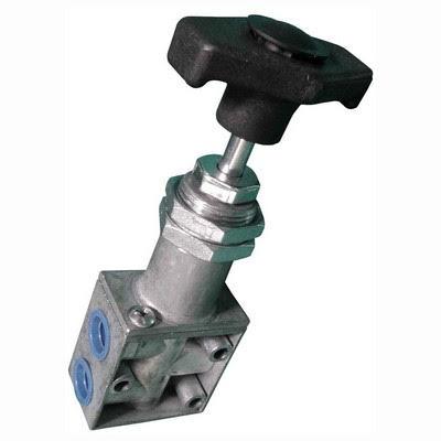 Válvula pneumática manual de duplo estágio usada no equipamento VBC 563 para atender os requisitos da norma 563 do CONTRAN